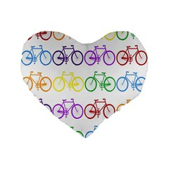 Rainbow Colors Bright Colorful Bicycles Wallpaper Background Standard 16  Premium Flano Heart Shape Cushions
