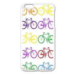 Rainbow Colors Bright Colorful Bicycles Wallpaper Background Apple Iphone 6 Plus/6s Plus Enamel White Case