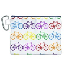 Rainbow Colors Bright Colorful Bicycles Wallpaper Background Canvas Cosmetic Bag (XL)