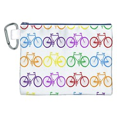 Rainbow Colors Bright Colorful Bicycles Wallpaper Background Canvas Cosmetic Bag (XXL)