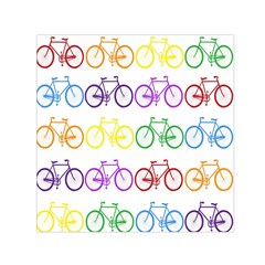 Rainbow Colors Bright Colorful Bicycles Wallpaper Background Small Satin Scarf (square)