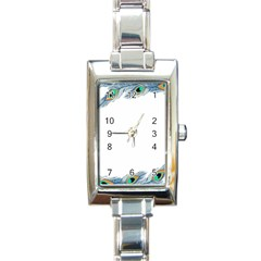 Beautiful Frame Made Up Of Blue Peacock Feathers Rectangle Italian Charm Watch