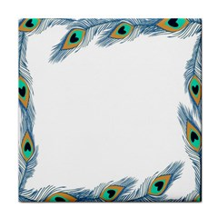 Beautiful Frame Made Up Of Blue Peacock Feathers Tile Coasters