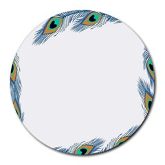 Beautiful Frame Made Up Of Blue Peacock Feathers Round Mousepads