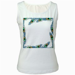 Beautiful Frame Made Up Of Blue Peacock Feathers Women s White Tank Top