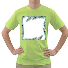 Beautiful Frame Made Up Of Blue Peacock Feathers Green T Shirt