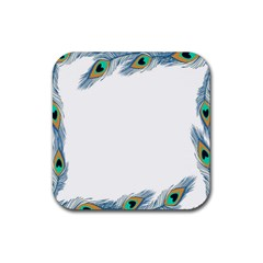 Beautiful Frame Made Up Of Blue Peacock Feathers Rubber Square Coaster (4 Pack)