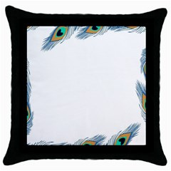 Beautiful Frame Made Up Of Blue Peacock Feathers Throw Pillow Case (black)
