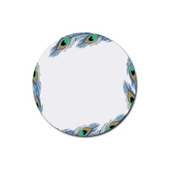 Beautiful Frame Made Up Of Blue Peacock Feathers Rubber Coaster (Round)