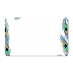 Beautiful Frame Made Up Of Blue Peacock Feathers Magnet (rectangular)