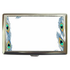 Beautiful Frame Made Up Of Blue Peacock Feathers Cigarette Money Cases