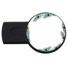 Beautiful Frame Made Up Of Blue Peacock Feathers USB Flash Drive Round (1 GB)