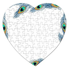 Beautiful Frame Made Up Of Blue Peacock Feathers Jigsaw Puzzle (heart)