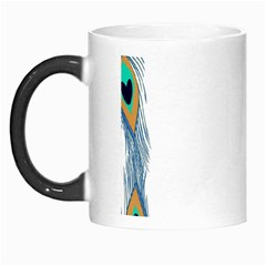 Beautiful Frame Made Up Of Blue Peacock Feathers Morph Mugs