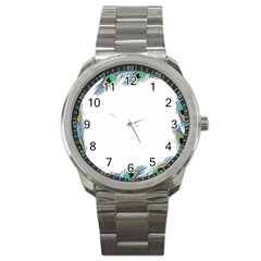 Beautiful Frame Made Up Of Blue Peacock Feathers Sport Metal Watch