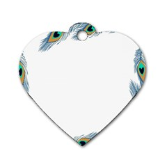Beautiful Frame Made Up Of Blue Peacock Feathers Dog Tag Heart (two Sides)
