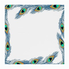 Beautiful Frame Made Up Of Blue Peacock Feathers Medium Glasses Cloth
