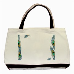 Beautiful Frame Made Up Of Blue Peacock Feathers Basic Tote Bag (two Sides)