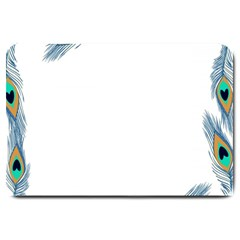 Beautiful Frame Made Up Of Blue Peacock Feathers Large Doormat