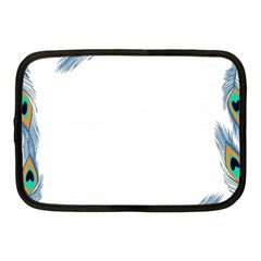 Beautiful Frame Made Up Of Blue Peacock Feathers Netbook Case (medium)