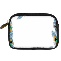 Beautiful Frame Made Up Of Blue Peacock Feathers Digital Camera Cases