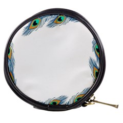 Beautiful Frame Made Up Of Blue Peacock Feathers Mini Makeup Bags
