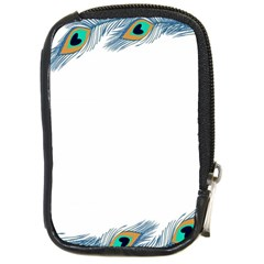 Beautiful Frame Made Up Of Blue Peacock Feathers Compact Camera Cases