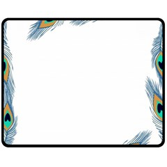 Beautiful Frame Made Up Of Blue Peacock Feathers Fleece Blanket (medium)