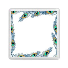 Beautiful Frame Made Up Of Blue Peacock Feathers Memory Card Reader (square)