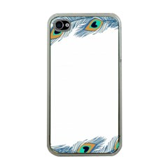 Beautiful Frame Made Up Of Blue Peacock Feathers Apple iPhone 4 Case (Clear)