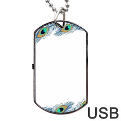 Beautiful Frame Made Up Of Blue Peacock Feathers Dog Tag USB Flash (Two Sides)