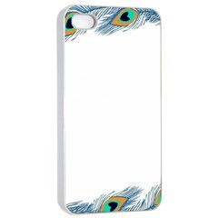 Beautiful Frame Made Up Of Blue Peacock Feathers Apple iPhone 4/4s Seamless Case (White)