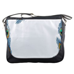 Beautiful Frame Made Up Of Blue Peacock Feathers Messenger Bags