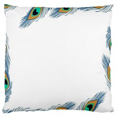 Beautiful Frame Made Up Of Blue Peacock Feathers Large Cushion Case (One Side)