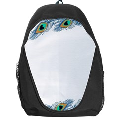 Beautiful Frame Made Up Of Blue Peacock Feathers Backpack Bag