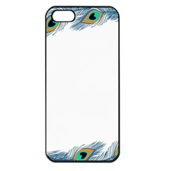 Beautiful Frame Made Up Of Blue Peacock Feathers Apple iPhone 5 Seamless Case (Black)