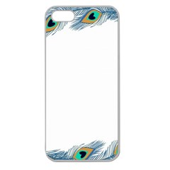 Beautiful Frame Made Up Of Blue Peacock Feathers Apple Seamless iPhone 5 Case (Clear)