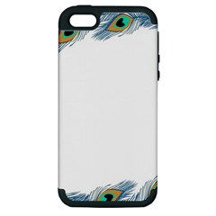 Beautiful Frame Made Up Of Blue Peacock Feathers Apple iPhone 5 Hardshell Case (PC+Silicone)