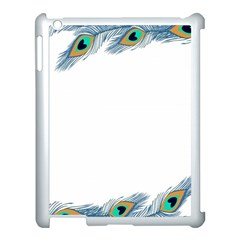 Beautiful Frame Made Up Of Blue Peacock Feathers Apple iPad 3/4 Case (White)