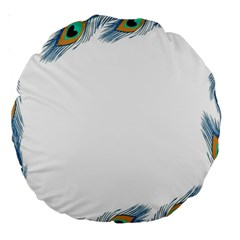 Beautiful Frame Made Up Of Blue Peacock Feathers Large 18  Premium Round Cushions