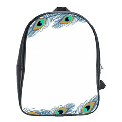 Beautiful Frame Made Up Of Blue Peacock Feathers School Bags (xl)