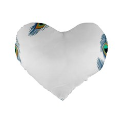 Beautiful Frame Made Up Of Blue Peacock Feathers Standard 16  Premium Heart Shape Cushions