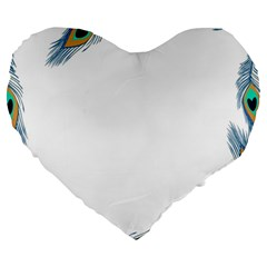 Beautiful Frame Made Up Of Blue Peacock Feathers Large 19  Premium Heart Shape Cushions