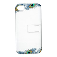 Beautiful Frame Made Up Of Blue Peacock Feathers Apple iPhone 4/4S Hardshell Case with Stand