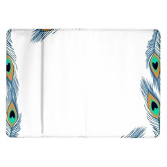 Beautiful Frame Made Up Of Blue Peacock Feathers Samsung Galaxy Tab 10.1  P7500 Flip Case