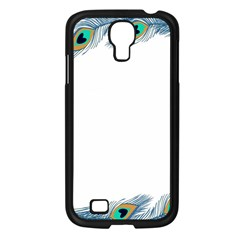 Beautiful Frame Made Up Of Blue Peacock Feathers Samsung Galaxy S4 I9500/ I9505 Case (Black)