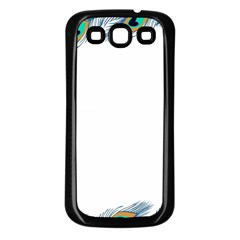 Beautiful Frame Made Up Of Blue Peacock Feathers Samsung Galaxy S3 Back Case (Black)