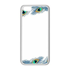 Beautiful Frame Made Up Of Blue Peacock Feathers Apple iPhone 5C Seamless Case (White)
