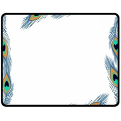 Beautiful Frame Made Up Of Blue Peacock Feathers Double Sided Fleece Blanket (Medium)