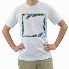 Beautiful Frame Made Up Of Blue Peacock Feathers Men s T-Shirt (White)